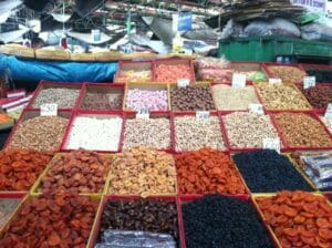 Dried fruits and nuts at Osh Bazaaar
