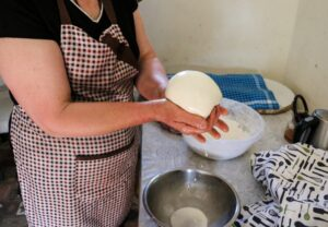 Georgian cheese made by hand