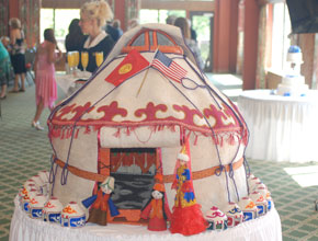 A scale-model yurt built for the wedding.