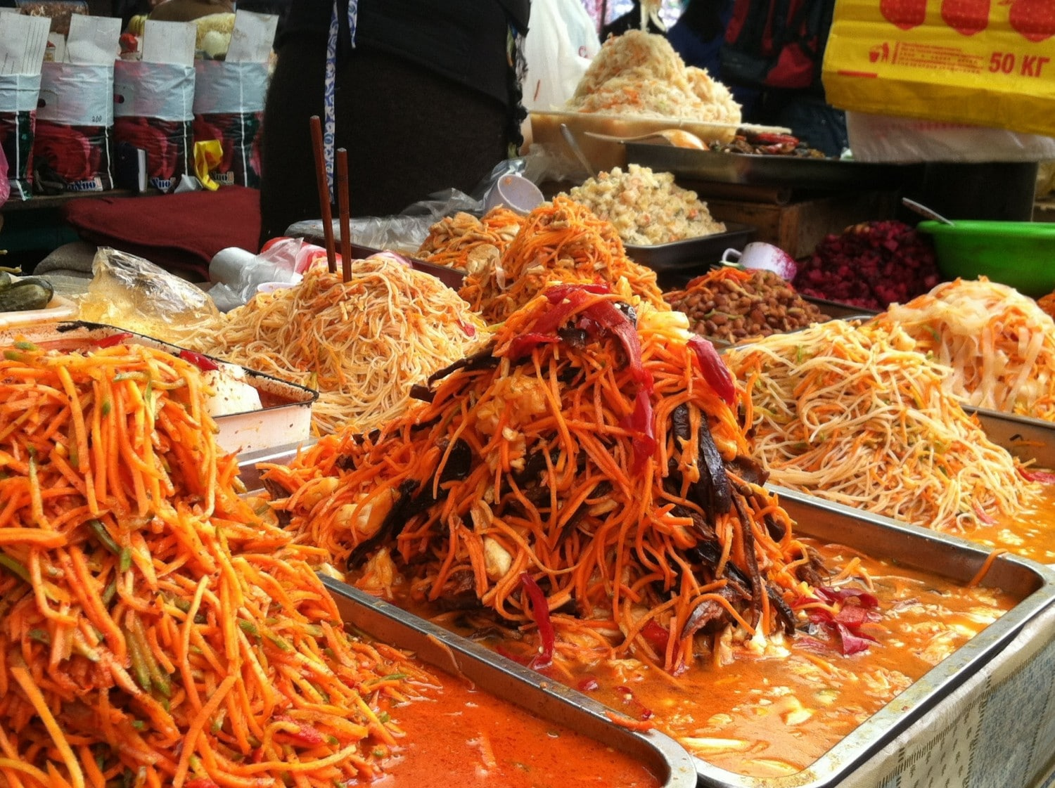 Korean carrot salad at Osh Bazaar in Bishkek